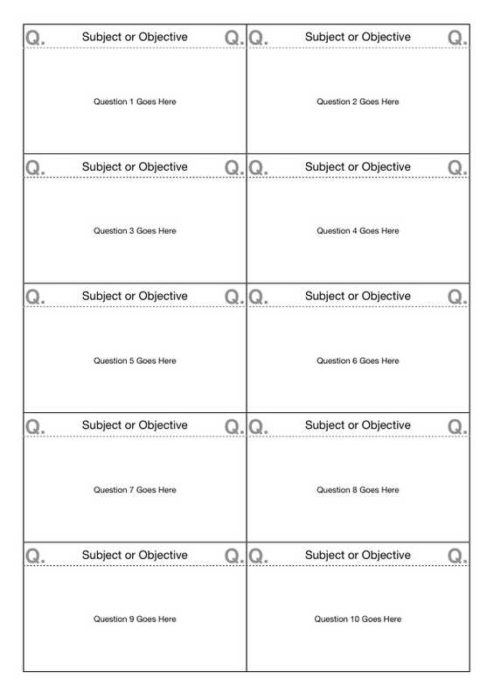 10-Up Flashcard Template (A4)