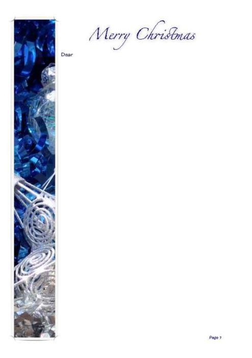 2-Page Blue Christmas Stationery