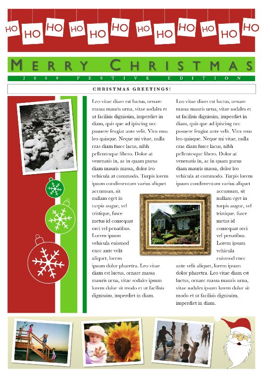 2-Page Christmas Newsletter Front