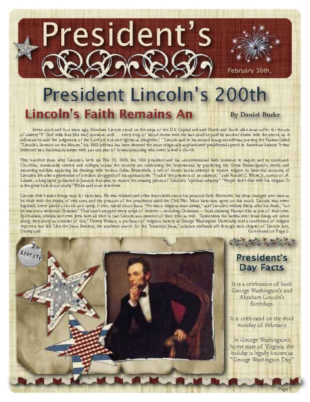 2-Page Historical Newsletter Front