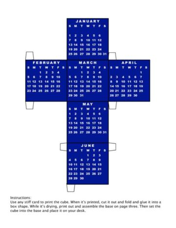 2005 Calendar Cube and Holder Blue