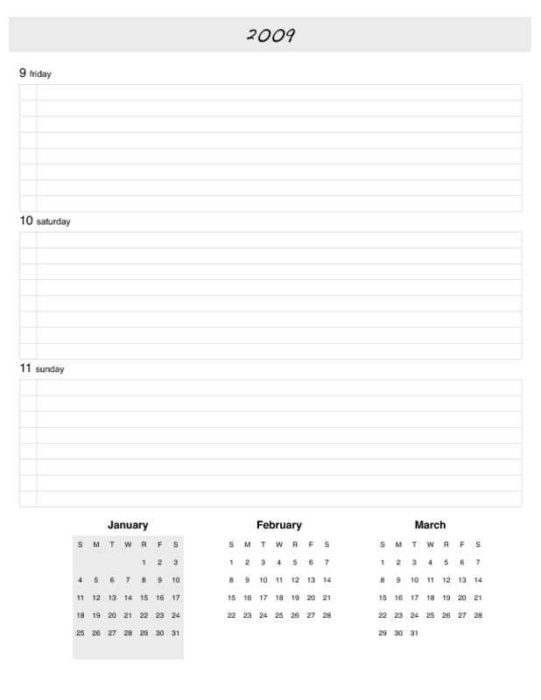 2009 Weekly Planner Pages Days and Month