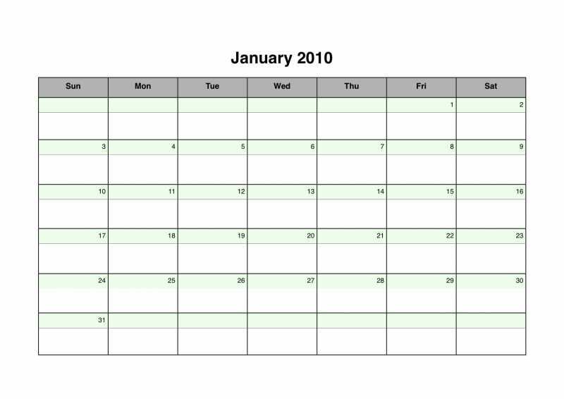 2010 Landscape Monthly Calendar with Green Accents