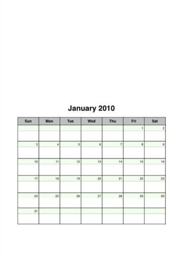 2010 Portrait-Oriented Monthly Calendar Sheets