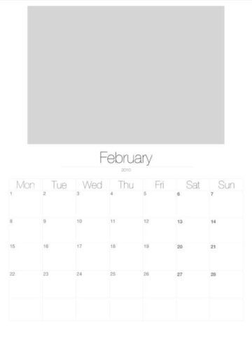 2010 Vertical Photo Calendar with Image Placeholders February