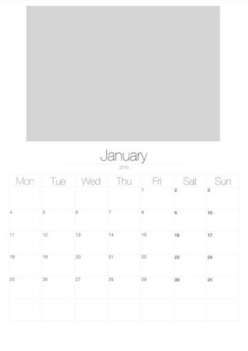 2010 Vertical Photo Calendar with Image Placeholders January