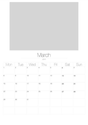 2010 Vertical Photo Calendar with Image Placeholders March