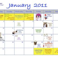 2011 Monthly Calendars for Activities