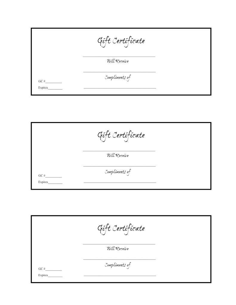 3-Up Black and White Gift Certificate