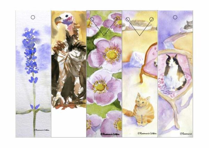 5-Up Watercolor Bookmarks