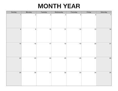5-Week Blank Monthly Calendar