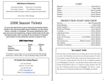 6-Page Play Program with Sponsor Information Cast and Tickets