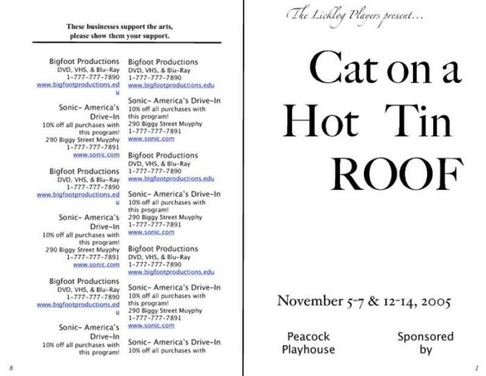 6-Page Play Program with Sponsor Information Cover and Back