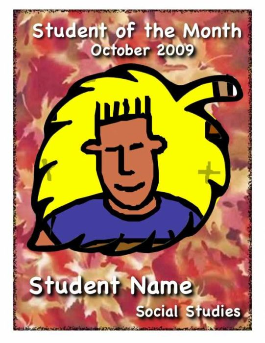 Autumn Student of the Month Certificate