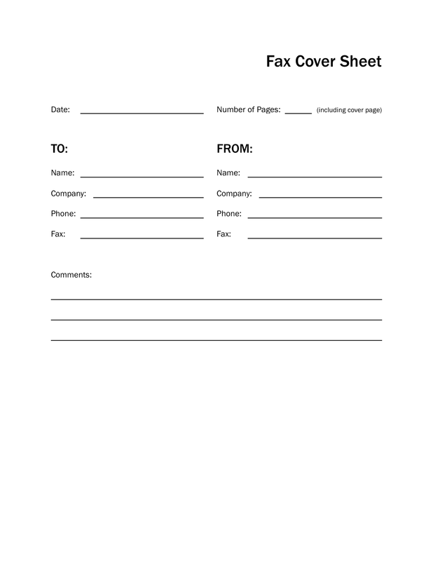 Basic Black and White Fax Cover Sheet
