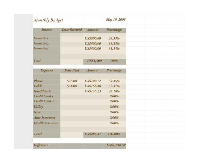 Basic Brown Monthly Budget Worksheet