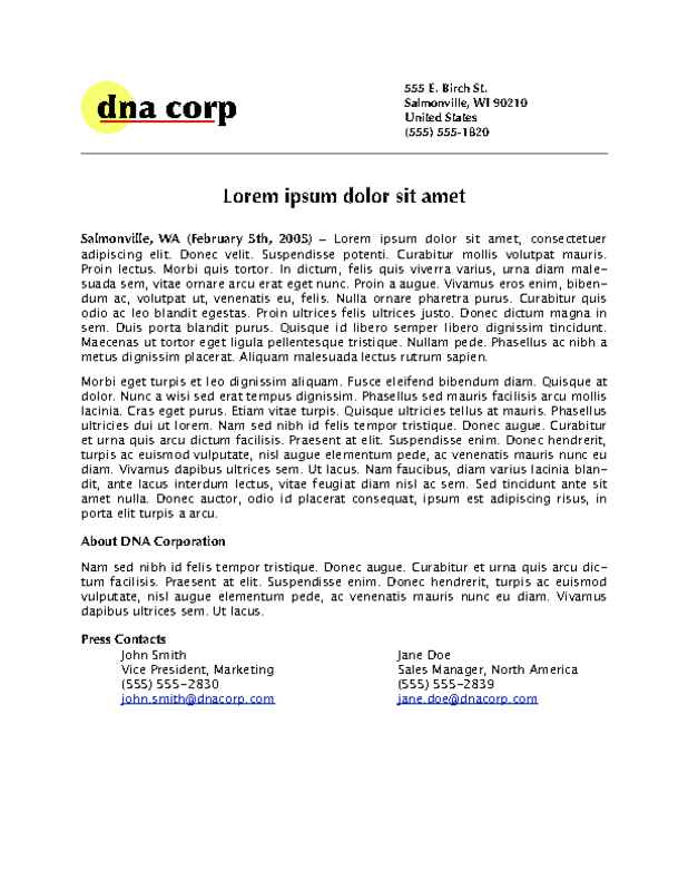 Basic Press Release with Logo