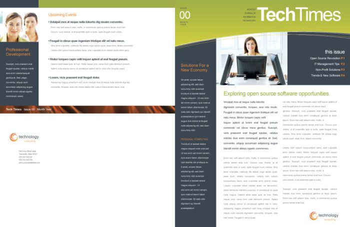 Bifold Business Brochure with Blue and Orange Accents