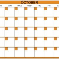 Blank October Calendar with Orange Theme