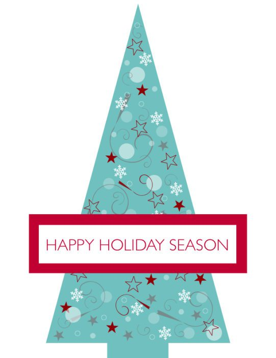 Blue Starry Christmas Tree Holiday Card