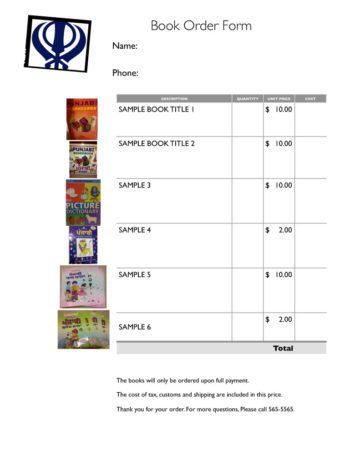 Book Order Form with Images