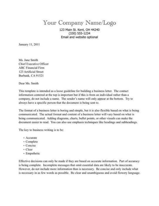 Business Letter with Text-Based Letterhead