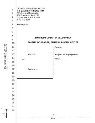California Legal Transcript with 2 Cover Pages Cover Page