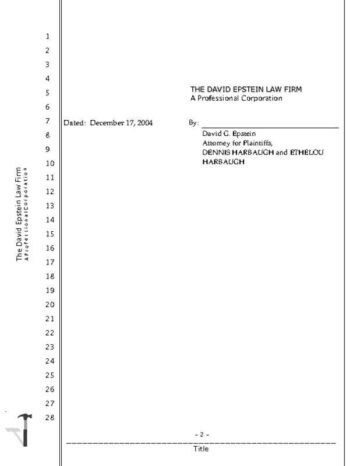 California Legal Transcript with 2 Cover Pages Page Two
