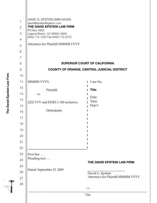 California Legal Transcript with Cover Pages