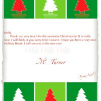 Christmas Thank You Card with Trees