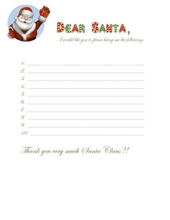 Christmas Wish list for Santa with Candy Cane Header