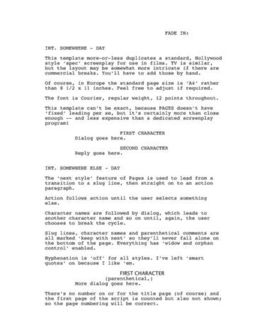 Classic Screenplay with Director Cues
