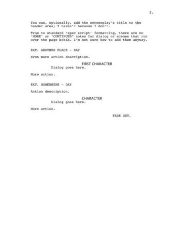 Classic Screenplay with Director Cues Page Two