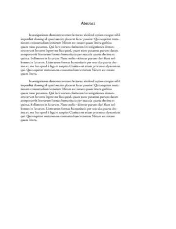 Collegiate Thesis Paper (German) Abstract