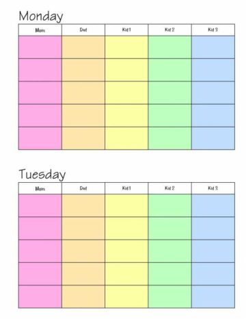 Color-Coded Weekly Family Planner