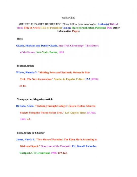 Color-Coded Works Cited for Research Paper Page One