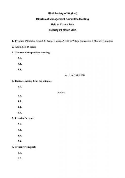 Committee Meeting Minutes with Member Reports First Page