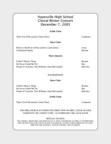 Concert Program for the Arts