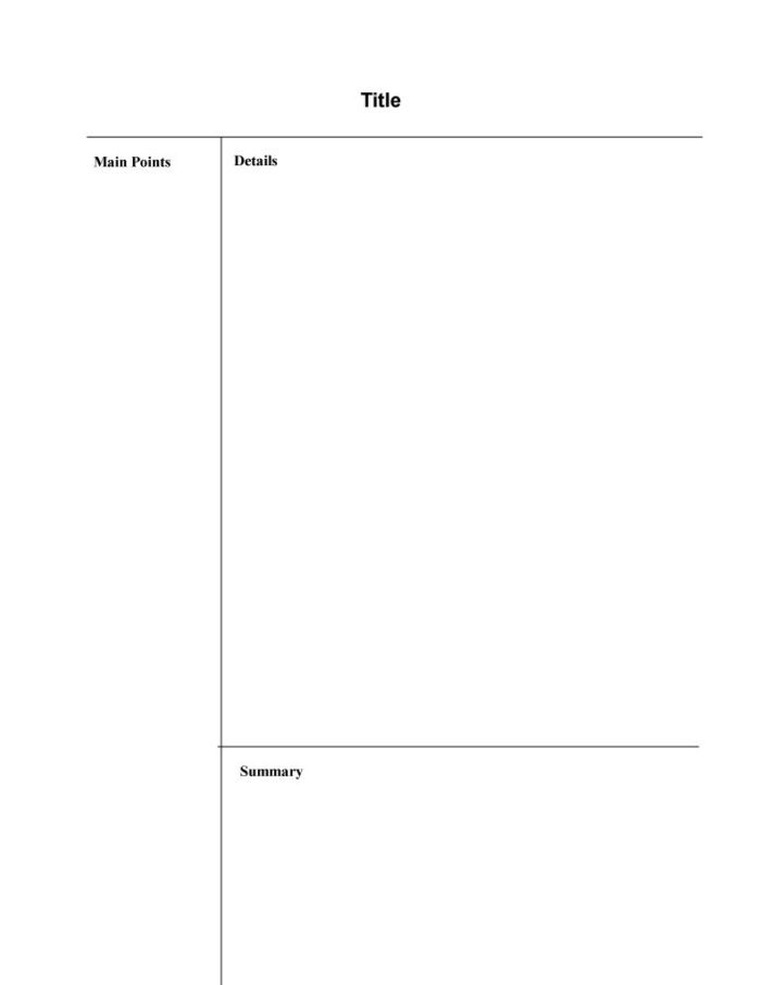 Cornell Note Taking Outline