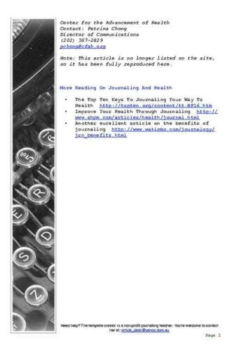 Daily Personal Journal with Typewriter Edging Page Three