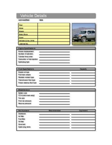 Detailed Vehicle Information Worksheet