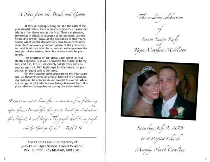 Detailed Wedding Program Booklet Cover and Back