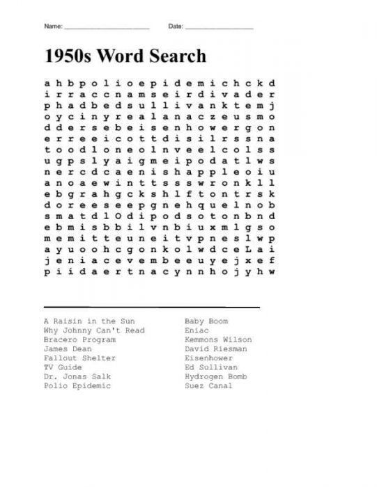 Easy Word Search Activity Page