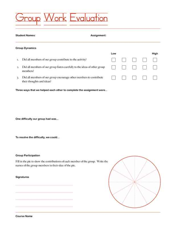 Evaluation Form for Group Projects