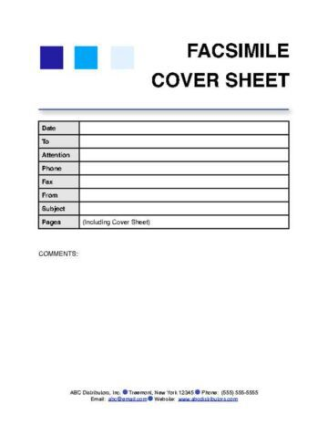 Fax Cover Sheet with Organization Information