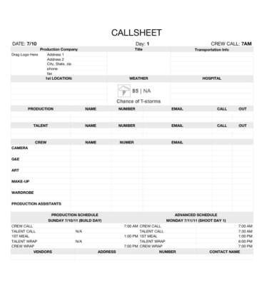 Film Production Call Sheet