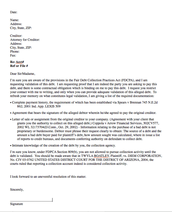 Formal Reply to Collection Notice