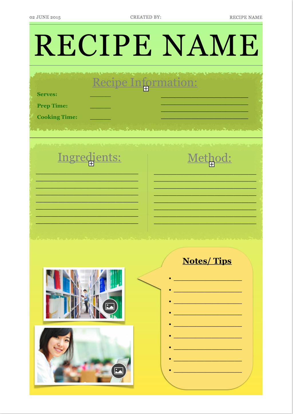 Full-Page Recipe with Green and Yellow Accents