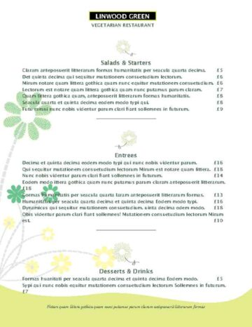 Green Daisy Accent Menu