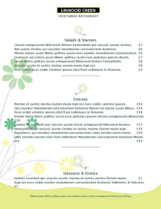 Green Daisy Accent Menu Page One